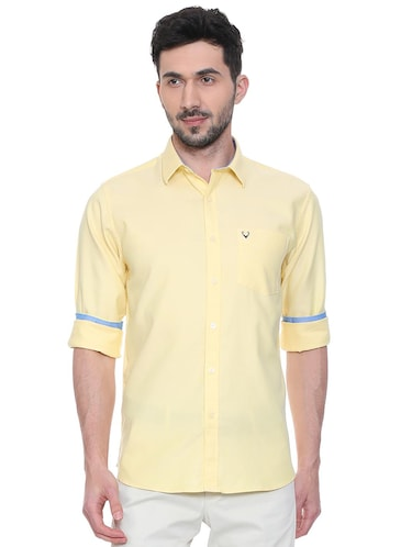 yellow solid casual shirt - 15981971 - Standard Image - 1