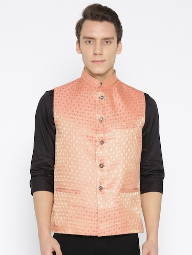 orange silk nehru jacket - 16003263 - Standard Image - 1