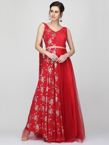 Foil print flared gown - 16007035 - Standard Image - 1