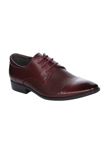 maroon Leather lace-up derbys - 16007897 - Standard Image - 1