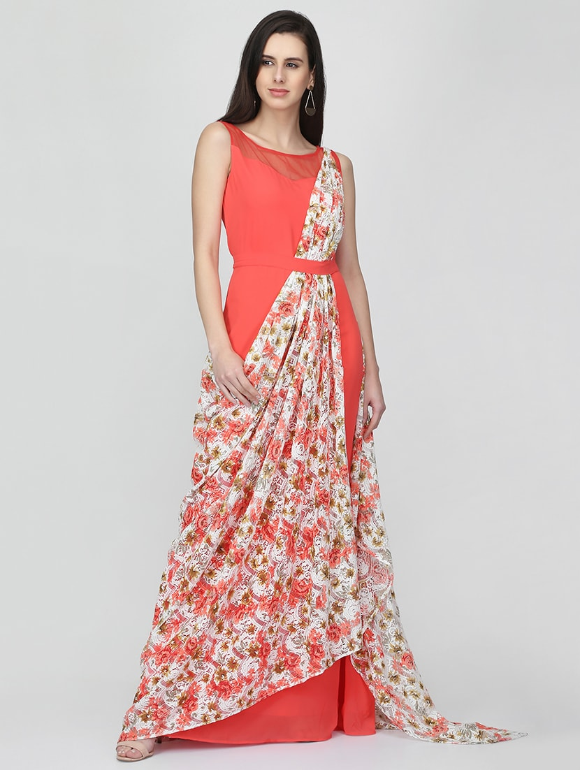 24934620d37 Buy Floral Drape Flared Gown for Women from Eavan for ₹3811 at 7 ...