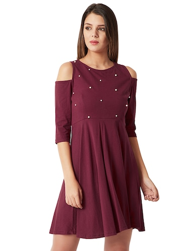 cold shoulder pearl embellished flared dress - 16013807 - Standard Image - 1
