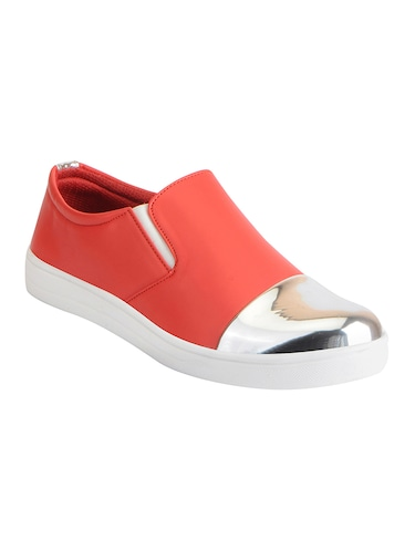 red synthetic slip on casual shoes - 16015740 - Standard Image - 1