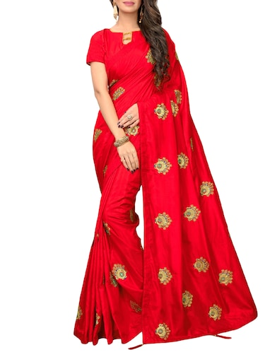 conversational zari red embroidered saree with blouse - 16040772 - Standard Image - 1