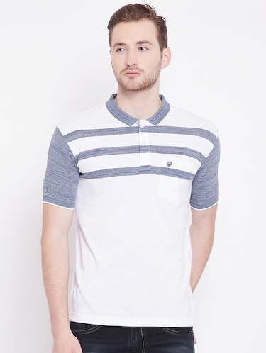 white striped polo t-shirt - 16041797 - Standard Image - 1