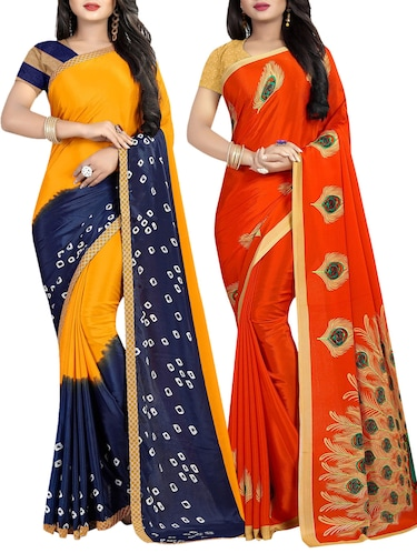 set of 2 multicolor printed saree combo with blouse - 16085462 - Standard Image - 1