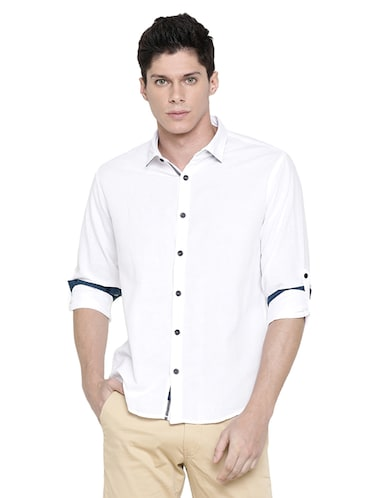 white solid casual shirt - 16086830 - Standard Image - 1