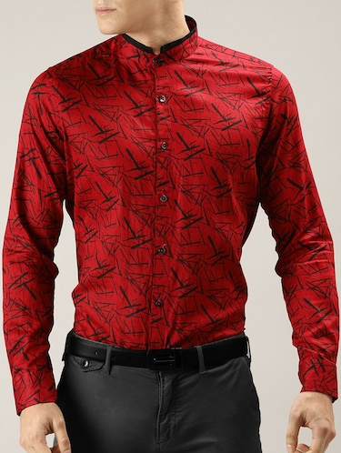 red printed casual shirt - 16089606 - Standard Image - 1