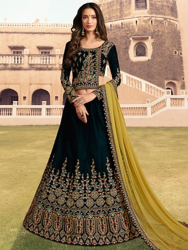 floral embroidered flared lehenga - 16091263 - Standard Image - 1