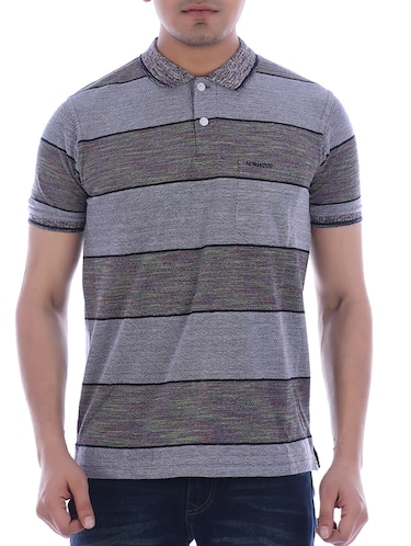 grey striped polo t-shirt - 16094257 - Standard Image - 1