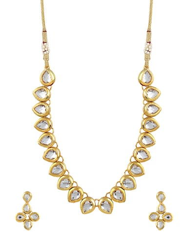 gold metal statement necklace - 16094679 - Standard Image - 1