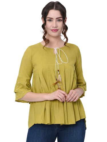 pearl embellished pleated top - 16095888 - Standard Image - 1
