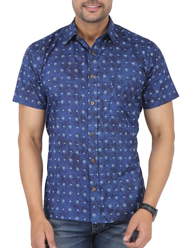 blue printed casual shirt - 16098795 - Standard Image - 1