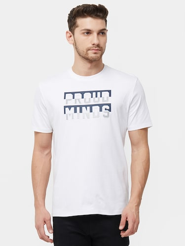 white typographic chest print t-shirt - 16099997 - Standard Image - 1