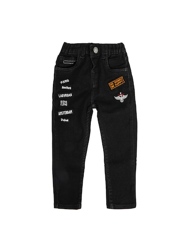 black denim  patched jeans  - 16100895 - Standard Image - 1