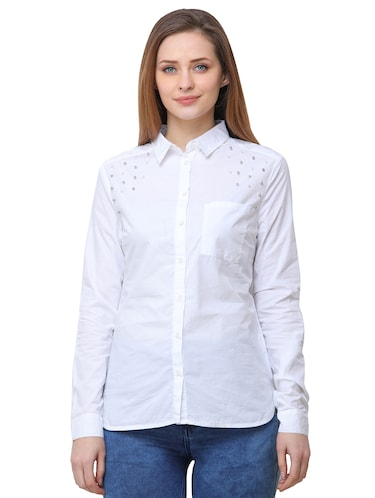pocket patch pearl embellished shirt - 16104489 - Standard Image - 1