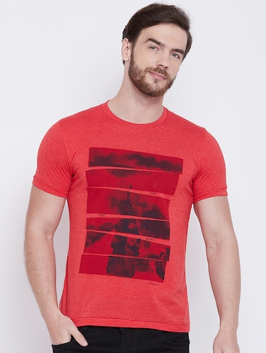 red front print t-shirt - 16105903 - Standard Image - 1