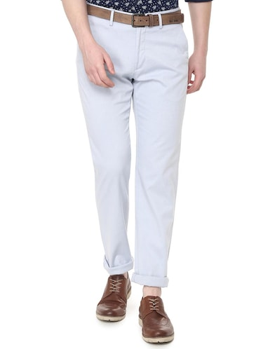 light blue textured chinos  - 16106832 - Standard Image - 1