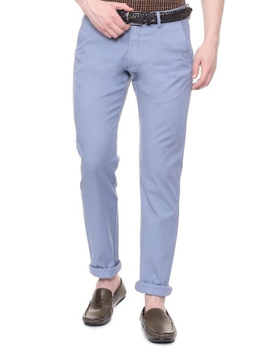 blue solid chinos - 16106853 - Standard Image - 1