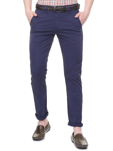 blue solid chinos  - 16106856 - Standard Image - 1