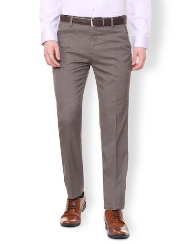 grey polyester blend flat front formal trouser - 16106896 - Standard Image - 1