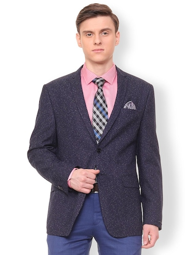blue polyester casual blazer - 16106925 - Standard Image - 1