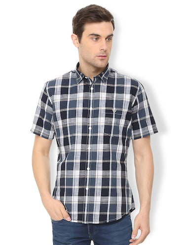 blue checkered casual shirt - 16106972 - Standard Image - 1