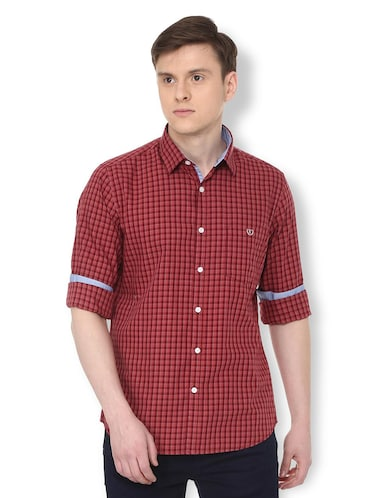 red checkered casual shirt - 16107038 - Standard Image - 1