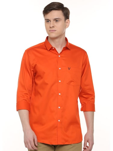 orange solid casual shirt - 16107182 - Standard Image - 1