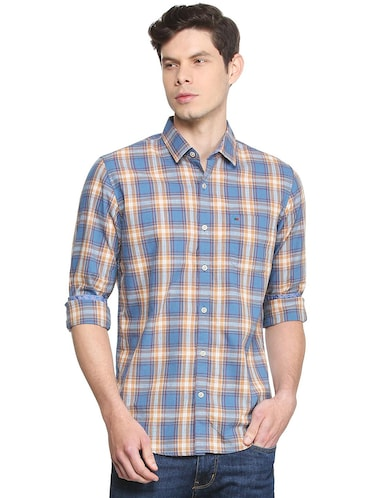 blue checkered casual shirt - 16107243 - Standard Image - 1