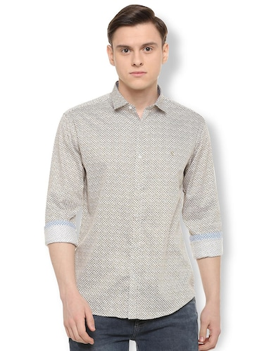 brown printed casual shirt - 16107306 - Standard Image - 1
