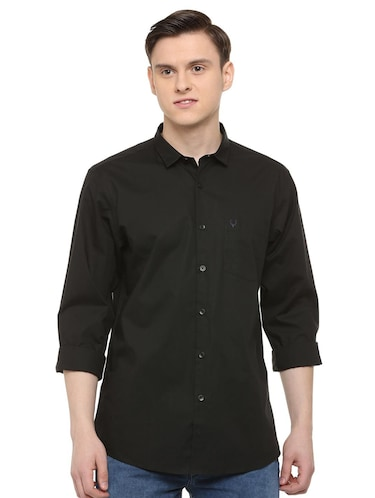 black solid casual shirt - 16107322 - Standard Image - 1