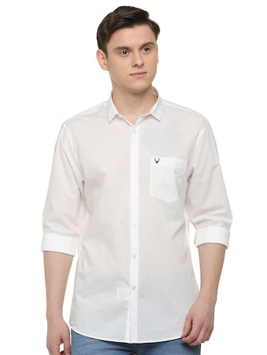 white solid casual shirt - 16107324 - Standard Image - 1