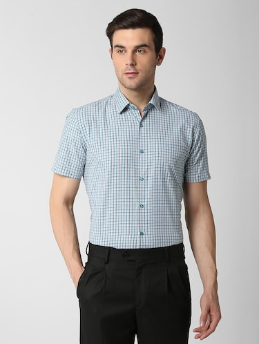 blue checkered formal shirt - 16107332 - Standard Image - 1