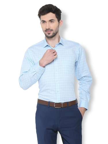 blue checkered formal shirt - 16107441 - Standard Image - 1