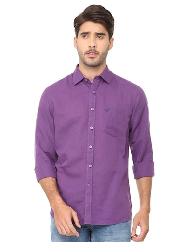 purple solid casual shirt - 16107461 - Standard Image - 1