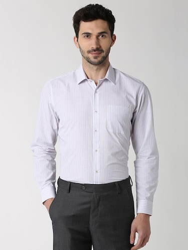 white striped formal shirt - 16107526 - Standard Image - 1