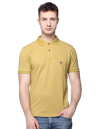 yellow solid polo t-shirt - 16109037 - Standard Image - 1