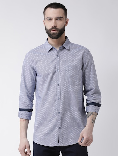 blue printed casual shirt - 16109483 - Standard Image - 1