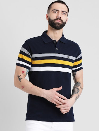 navy blue striped polo t-shirt - 16109682 - Standard Image - 1