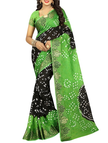 Tie & dye printed saree with blouse - 16110158 - Standard Image - 1