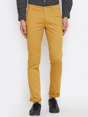 brown cotton blend chinos - 16110825 - Standard Image - 1