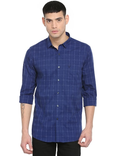 blue checkered casual shirt - 16113639 - Standard Image - 1