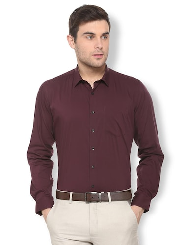 maroon solid formal shirt - 16113662 - Standard Image - 1
