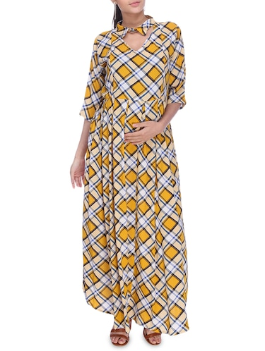 checkered maternity wear dress - 16114820 - Standard Image - 1