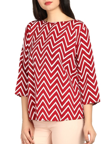 boat neck chevron top - 16121272 - Standard Image - 1