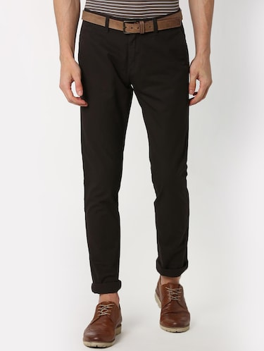 brown solid chinos  - 16128980 - Standard Image - 1