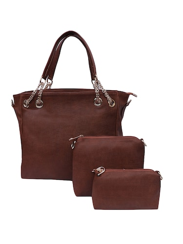 brown leatherette (pu) handbag and pouch combo - 16131945 - Standard Image - 1