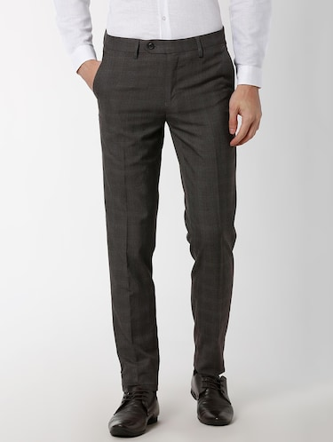 grey polyester blend flat front formal trouser - 16137414 - Standard Image - 1