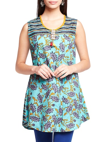 turquoise floral a-line kurti - 16140637 - Standard Image - 1
